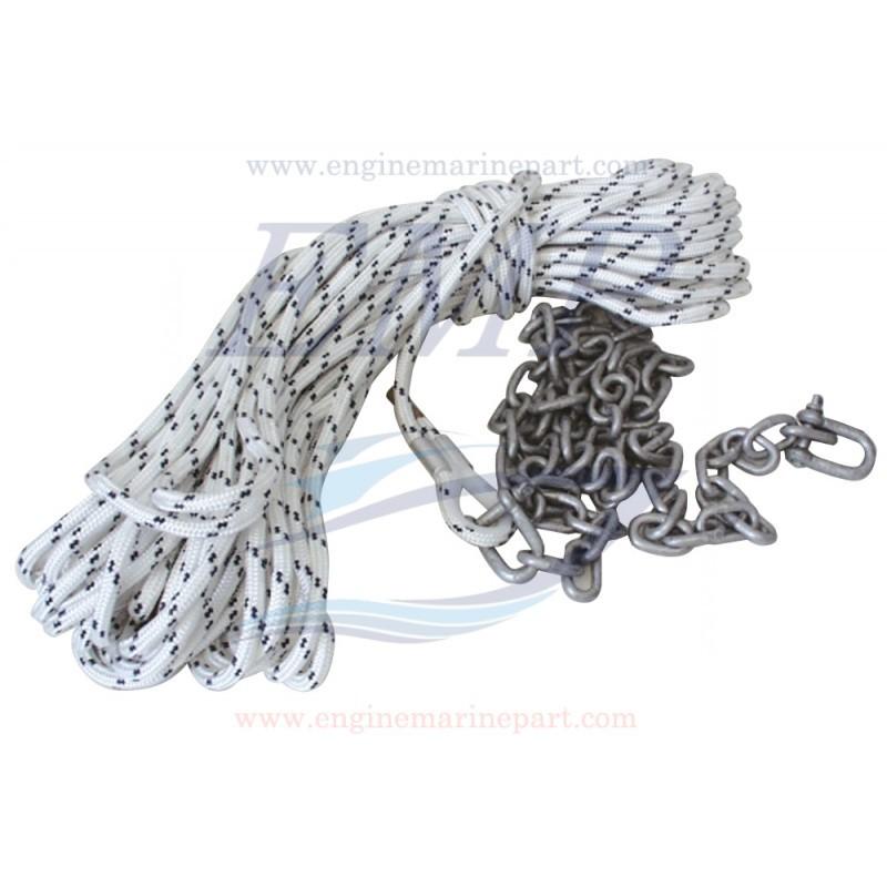 Cima per ancora completa di catena e di grillo zincato