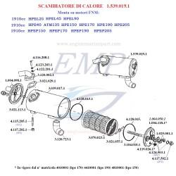 Ricambi per scambiatore di calore acqua 1910cc FNM 1.539.019.1